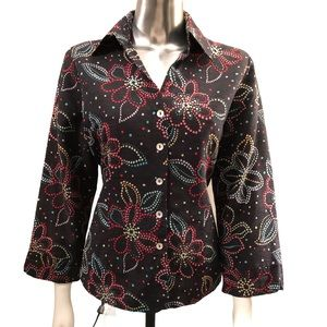 💋2/$30💋 EUC 100% Silk Floral Button Front Jacket